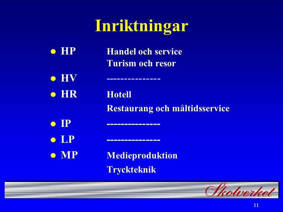 11 Inriktningar l HP Handel och service Turism och resor l HV--------------- l HR Hotell Restaurang och måltidsservice l IP--------------- l LP--------------- l MP Medieproduktion Tryckteknik