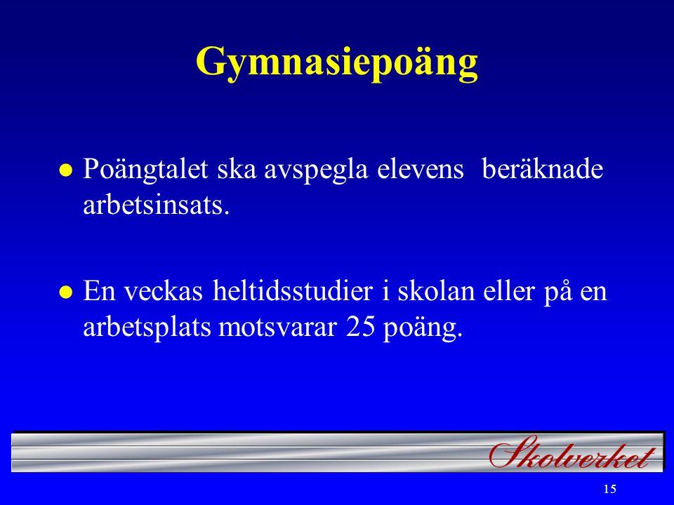 15 Gymnasiepoäng l Poängtalet ska avspegla elevens beräknade arbetsinsats.