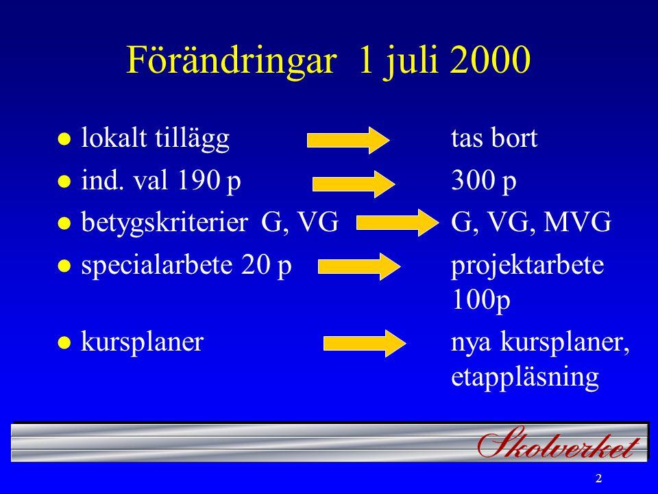 2 Förändringar 1 juli 2000 l lokalt tilläggtas bort l ind.