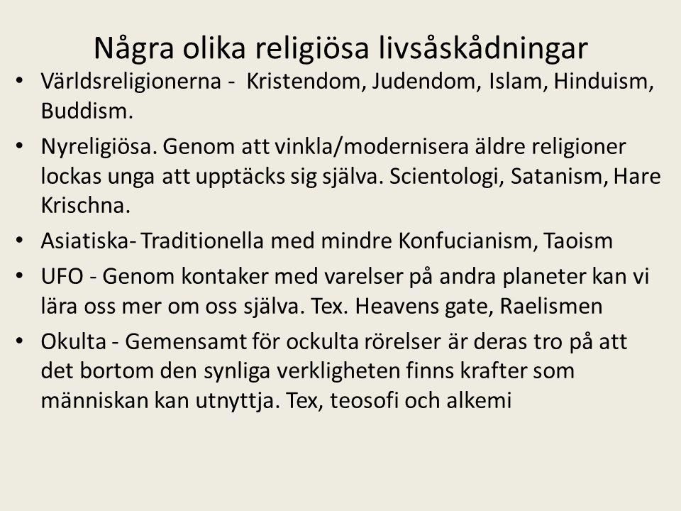 Några olika religiösa livsåskådningar Världsreligionerna - Kristendom, Judendom, Islam, Hinduism, Buddism. Nyreligiösa. Genom att vinkla/modernisera ä