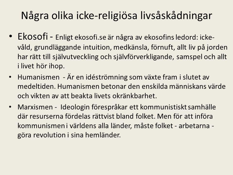 Några olika icke-religiösa livsåskådningar Ekosofi - Enligt ekosofi.se är några av ekosofins ledord: icke- våld, grundläggande intuition, medkänsla, f