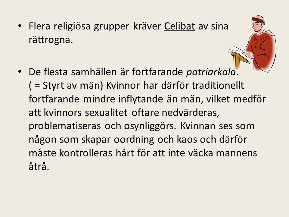 Flera religiösa grupper kräver Celibat av sina rättrogna. De flesta samhällen är fortfarande patriarkala. ( = Styrt av män) Kvinnor har därför traditi