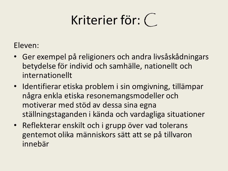 Kriterier för: C Eleven: Ger exempel på religioners och andra livsåskådningars betydelse för individ och samhälle, nationellt och internationellt Iden