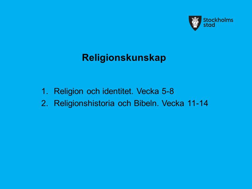 Religionskunskap 1.Religion och identitet. Vecka 5-8 2.Religionshistoria och Bibeln. Vecka 11-14