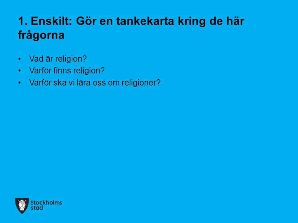 1. Enskilt: Gör en tankekarta kring de här frågorna Vad är religion? Varför finns religion? Varför ska vi lära oss om religioner?