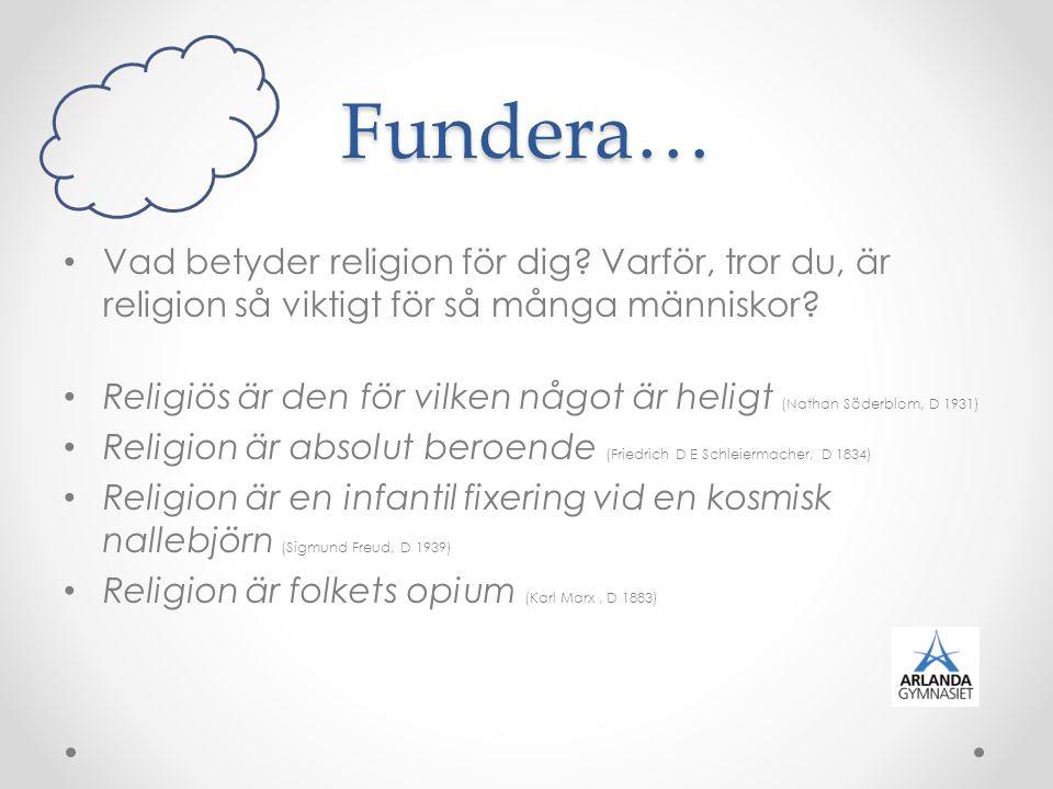 Fundera… Vad betyder religion för dig? Varför, tror du, är religion så viktigt för så många människor? Religiös är den för vilken något är heligt (Nat