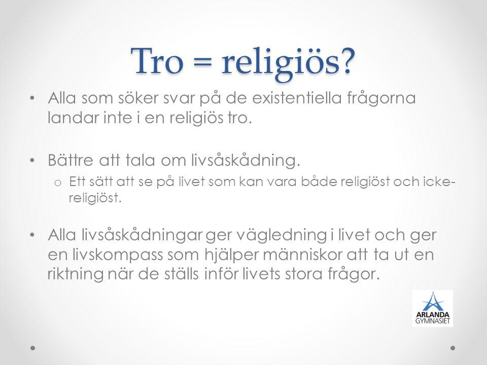 Tro = religiös? Alla som söker svar på de existentiella frågorna landar inte i en religiös tro. Bättre att tala om livsåskådning. o Ett sätt att se på