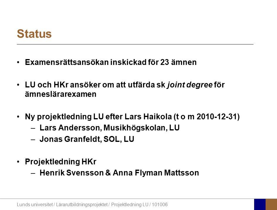 Lunds universitet / Lärarutbildningsprojektet / Projektledning LU / 101006 Status Examensrättsansökan inskickad för 23 ämnen LU och HKr ansöker om att