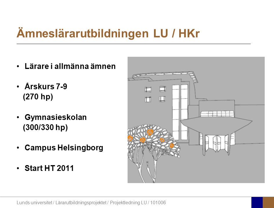 Lunds universitet / Lärarutbildningsprojektet / Projektledning LU / 101006 Ämneslärarutbildningen LU / HKr Lärare i allmänna ämnen Årskurs 7-9 (270 hp