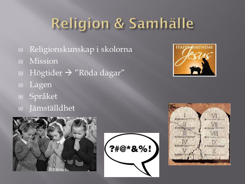 """ Religionskunskap i skolorna  Mission  Högtider  """"Röda dagar""""  Lagen  Språket  Jämställdhet"""