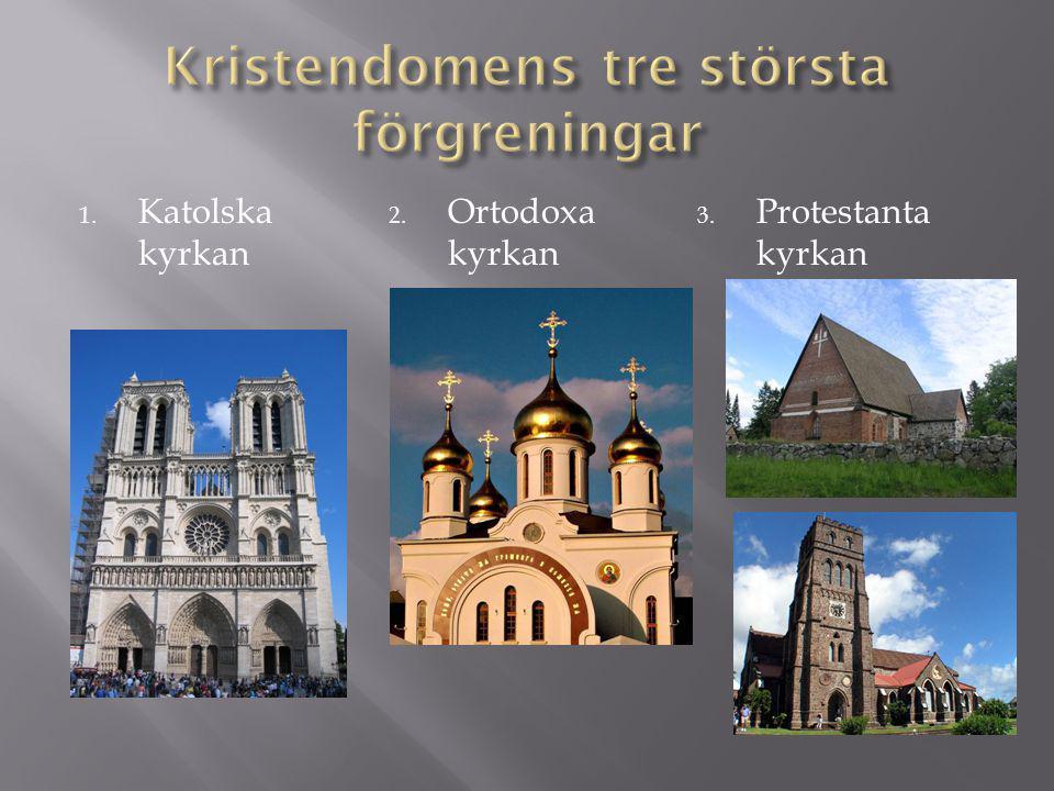 1. Katolska kyrkan 2. Ortodoxa kyrkan 3. Protestanta kyrkan