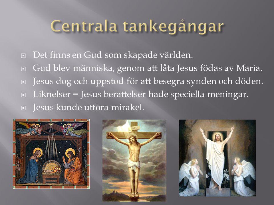  Det finns en Gud som skapade världen.  Gud blev människa, genom att låta Jesus födas av Maria.  Jesus dog och uppstod för att besegra synden och d