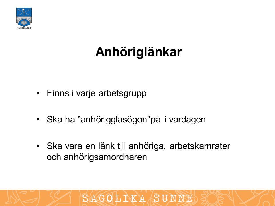"""Anhöriglänkar Finns i varje arbetsgrupp Ska ha """"anhörigglasögon""""på i vardagen Ska vara en länk till anhöriga, arbetskamrater och anhörigsamordnaren"""