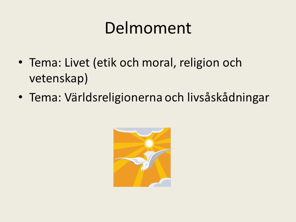 Delmoment Tema: Livet (etik och moral, religion och vetenskap) Tema: Världsreligionerna och livsåskådningar
