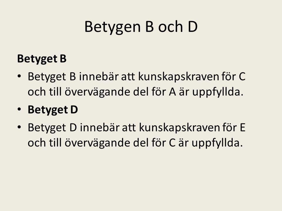 Betygen B och D Betyget B Betyget B innebär att kunskapskraven för C och till övervägande del för A är uppfyllda. Betyget D Betyget D innebär att kuns