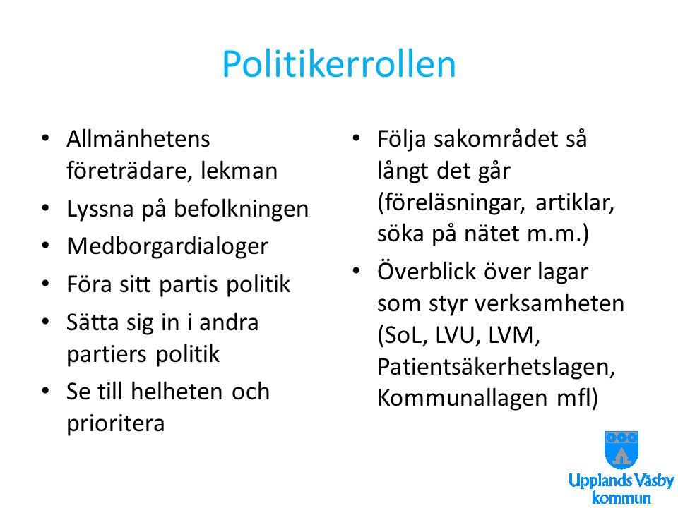 Politikerrollen Allmänhetens företrädare, lekman Lyssna på befolkningen Medborgardialoger Föra sitt partis politik Sätta sig in i andra partiers polit
