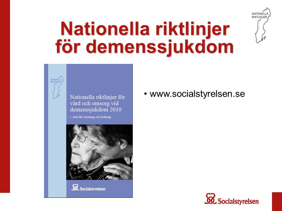 Nationella riktlinjer för demenssjukdom www.socialstyrelsen.se