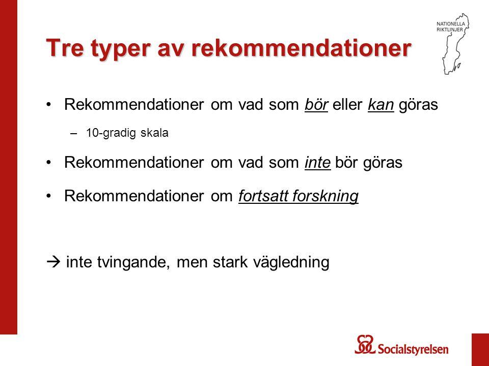 Tre typer av rekommendationer Rekommendationer om vad som bör eller kan göras –10-gradig skala Rekommendationer om vad som inte bör göras Rekommendati