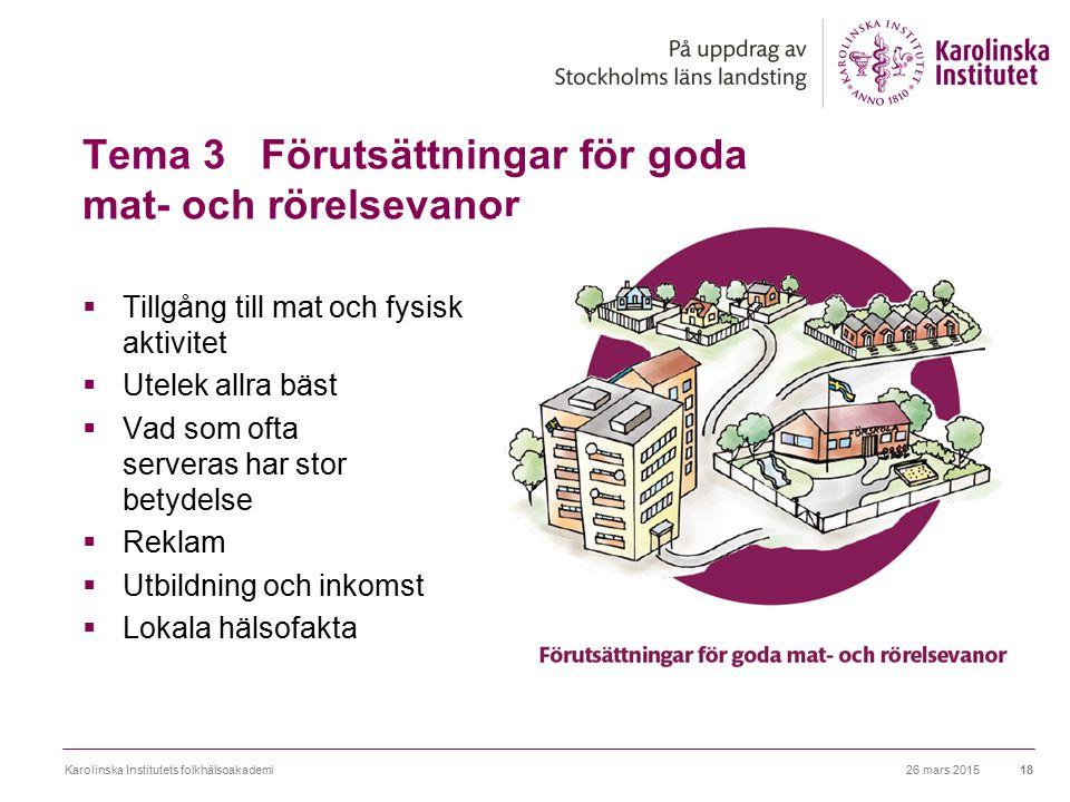 Tema 3 Förutsättningar för goda mat- och rörelsevanor  Tillgång till mat och fysisk aktivitet  Utelek allra bäst  Vad som ofta serveras har stor be