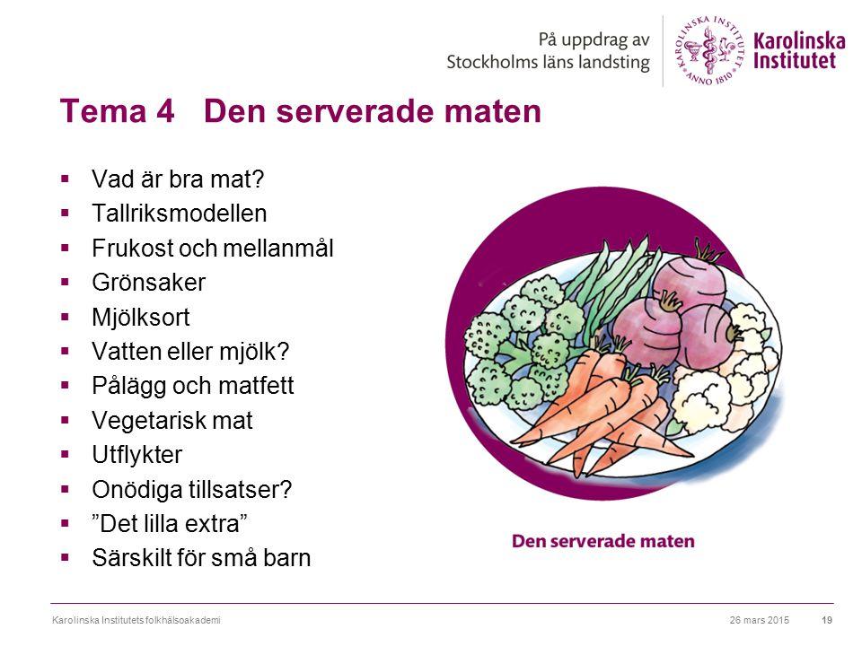 Tema 4 Den serverade maten  Vad är bra mat?  Tallriksmodellen  Frukost och mellanmål  Grönsaker  Mjölksort  Vatten eller mjölk?  Pålägg och mat