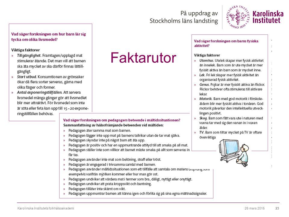 26 mars 2015Karolinska Institutets folkhälsoakademi23 Faktarutor