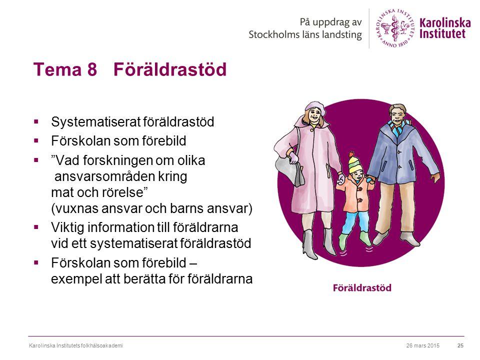 """Tema 8 Föräldrastöd  Systematiserat föräldrastöd  Förskolan som förebild  """"Vad forskningen om olika ansvarsområden kring mat och rörelse"""" (vuxnas a"""