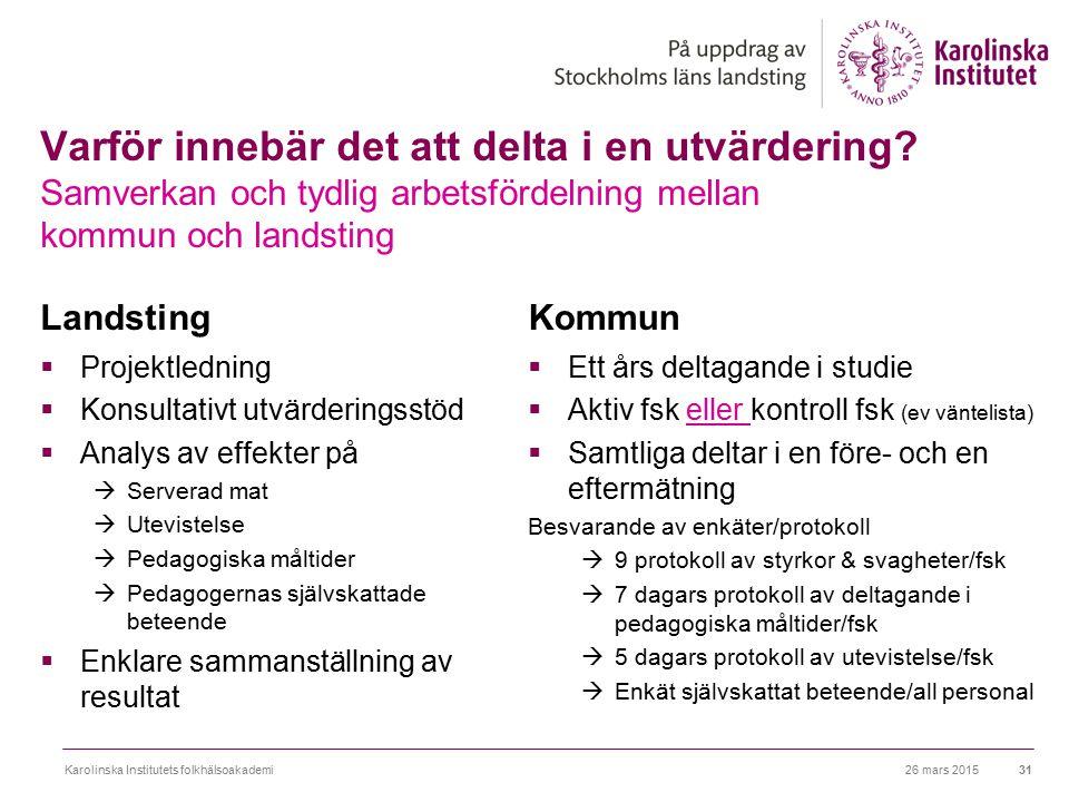Varför innebär det att delta i en utvärdering? Samverkan och tydlig arbetsfördelning mellan kommun och landsting Landsting  Projektledning  Konsulta