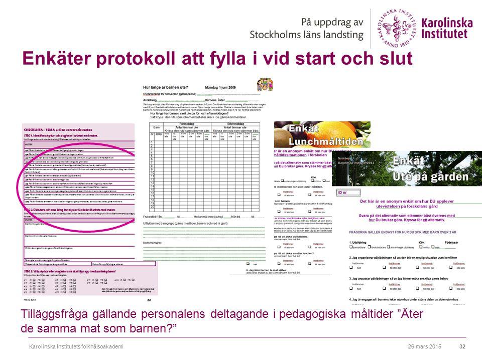 Enkäter protokoll att fylla i vid start och slut 26 mars 2015Karolinska Institutets folkhälsoakademi32 Tilläggsfråga gällande personalens deltagande i
