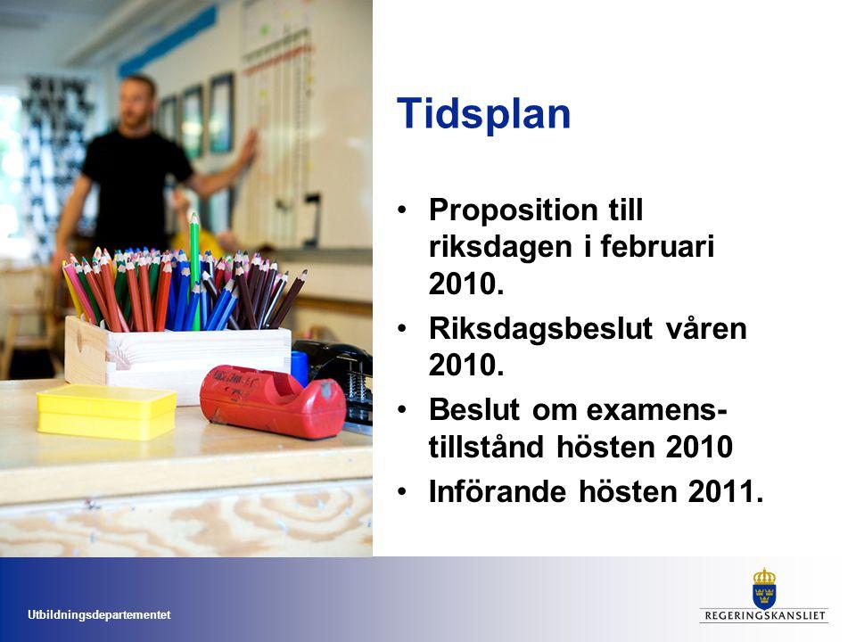 Utbildningsdepartementet Tidsplan Proposition till riksdagen i februari 2010. Riksdagsbeslut våren 2010. Beslut om examens- tillstånd hösten 2010 Infö