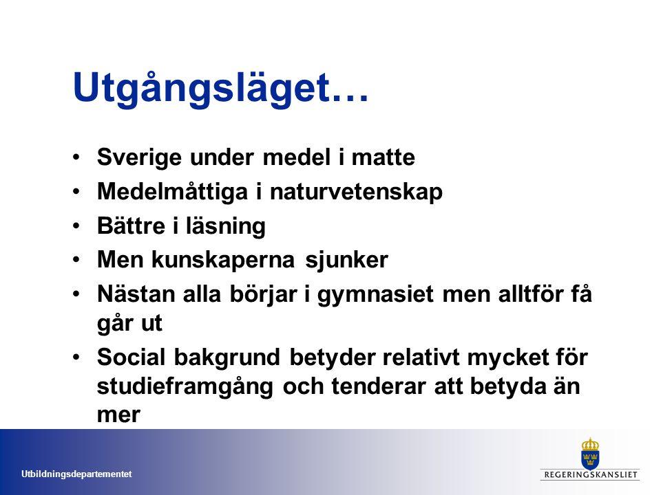 Utbildningsdepartementet Utgångsläget… Sverige under medel i matte Medelmåttiga i naturvetenskap Bättre i läsning Men kunskaperna sjunker Nästan alla