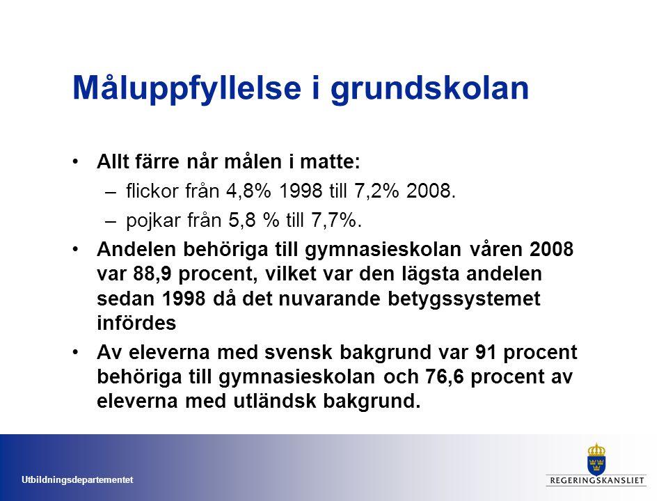 Utbildningsdepartementet Stora satsningar på lärarna Lärarlyftet.