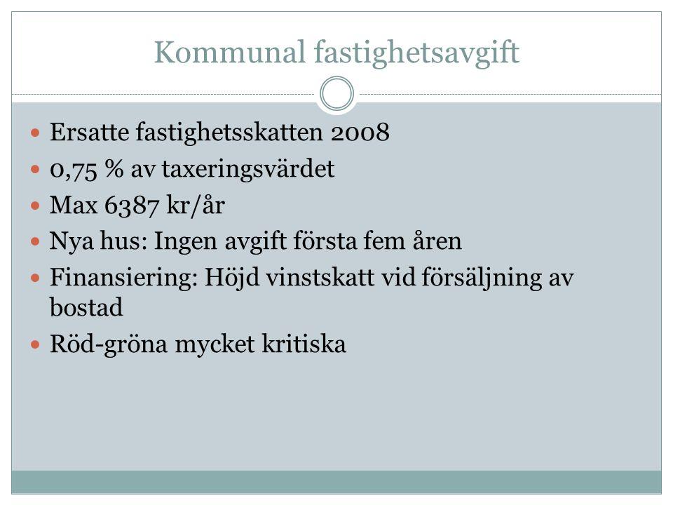 Kommunal fastighetsavgift Ersatte fastighetsskatten 2008 0,75 % av taxeringsvärdet Max 6387 kr/år Nya hus: Ingen avgift första fem åren Finansiering: