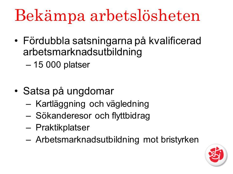 Bekämpa arbetslösheten Fördubbla satsningarna på kvalificerad arbetsmarknadsutbildning –15 000 platser Satsa på ungdomar – Kartläggning och vägledning – Sökanderesor och flyttbidrag – Praktikplatser – Arbetsmarknadsutbildning mot bristyrken