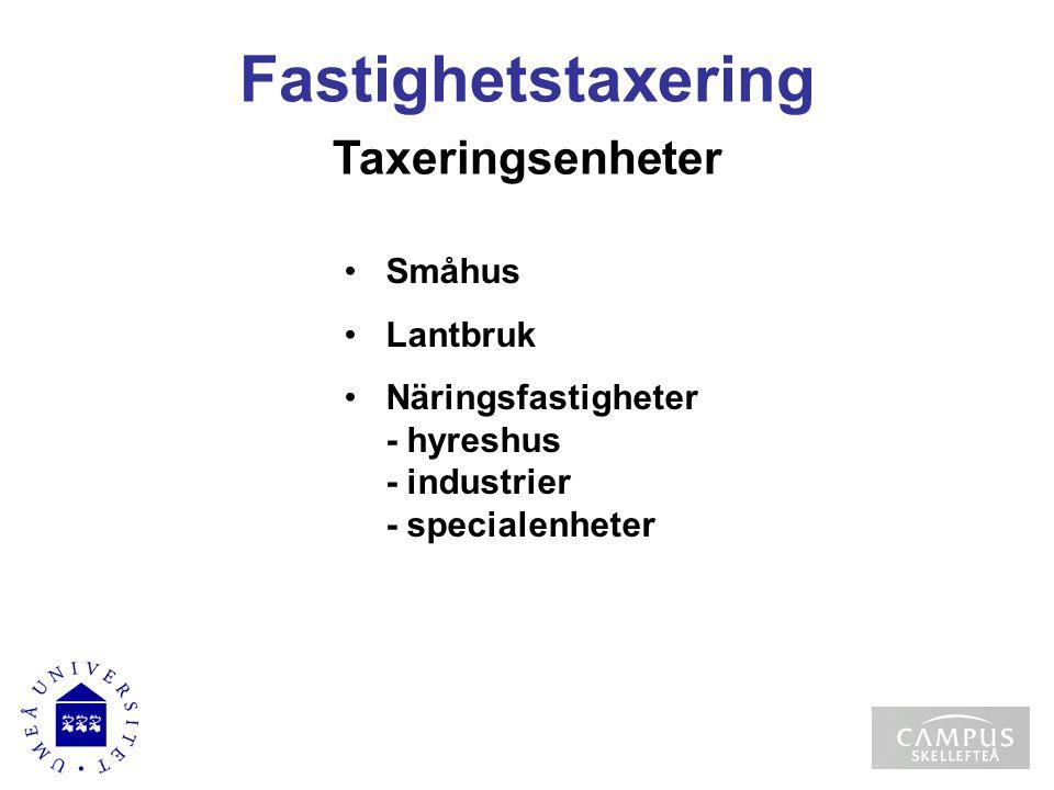 Taxeringsenheter Småhus Lantbruk Näringsfastigheter - hyreshus - industrier - specialenheter Fastighetstaxering