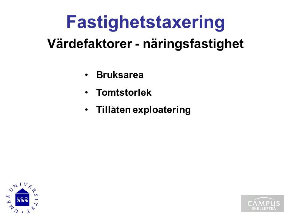 Värdefaktorer - näringsfastighet Bruksarea Tomtstorlek Tillåten exploatering Fastighetstaxering