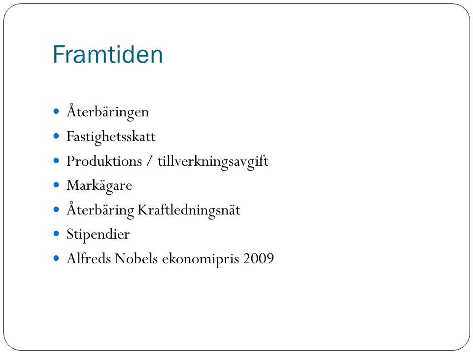 Framtiden Återbäringen Fastighetsskatt Produktions / tillverkningsavgift Markägare Återbäring Kraftledningsnät Stipendier Alfreds Nobels ekonomipris 2009