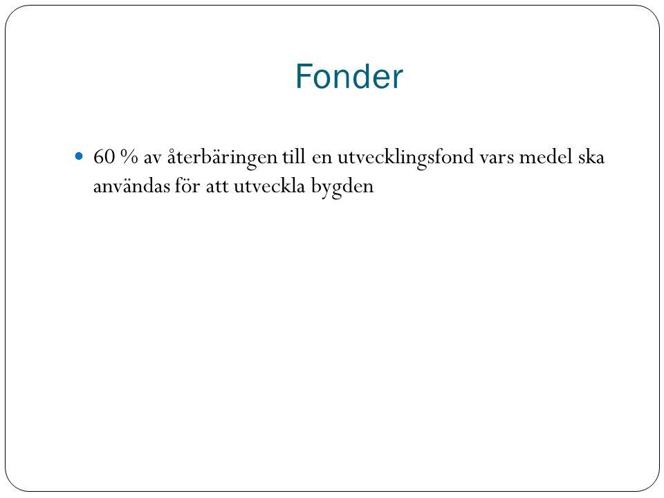 Fonder 60 % av återbäringen till en utvecklingsfond vars medel ska användas för att utveckla bygden