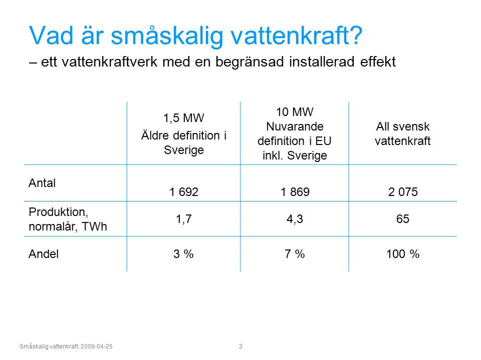 Småskalig vattenkraft. 2009-04-25 3 Vad är småskalig vattenkraft? – ett vattenkraftverk med en begränsad installerad effekt 1,5 MW Äldre definition i