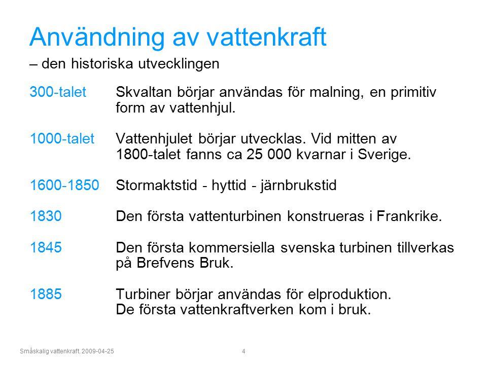 Småskalig vattenkraft. 2009-04-25 4 Användning av vattenkraft – den historiska utvecklingen 300-talet Skvaltan börjar användas för malning, en primiti