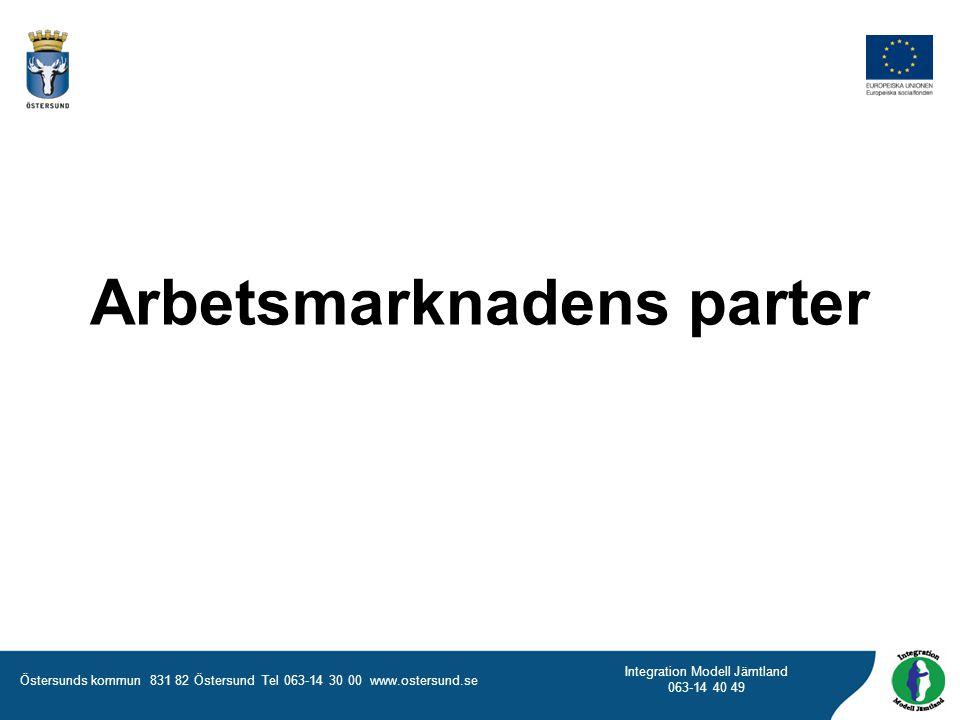 Östersunds kommun 831 82 Östersund Tel 063-14 30 00 www.ostersund.se Integration Modell Jämtland 063-14 40 49 Arbetsgivarorganisation Svenskt Näringsliv Företagens företrädare i Sverige Företräder ca 54 000 företag Inom 50 bransch- och arbetsgivarförbund