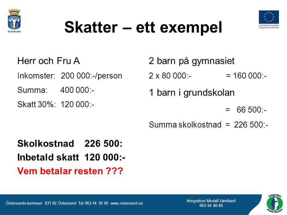 Östersunds kommun 831 82 Östersund Tel 063-14 30 00 www.ostersund.se Integration Modell Jämtland 063-14 40 49 Skatter – ett exempel Herr och Fru A Ink
