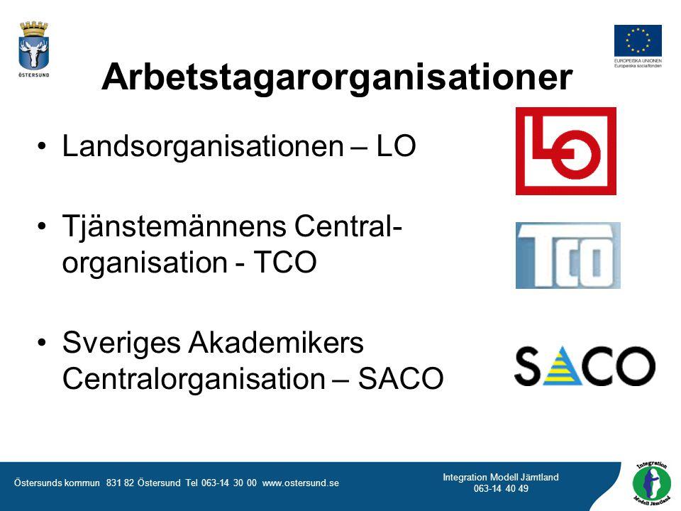 Östersunds kommun 831 82 Östersund Tel 063-14 30 00 www.ostersund.se Integration Modell Jämtland 063-14 40 49 Arbetstagarorganisationer Landsorganisat