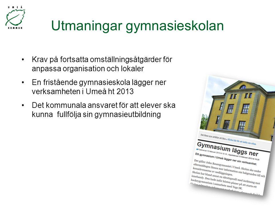 Utmaningar gymnasieskolan Krav på fortsatta omställningsåtgärder för anpassa organisation och lokaler En fristående gymnasieskola lägger ner verksamheten i Umeå ht 2013 Det kommunala ansvaret för att elever ska kunna fullfölja sin gymnasieutbildning