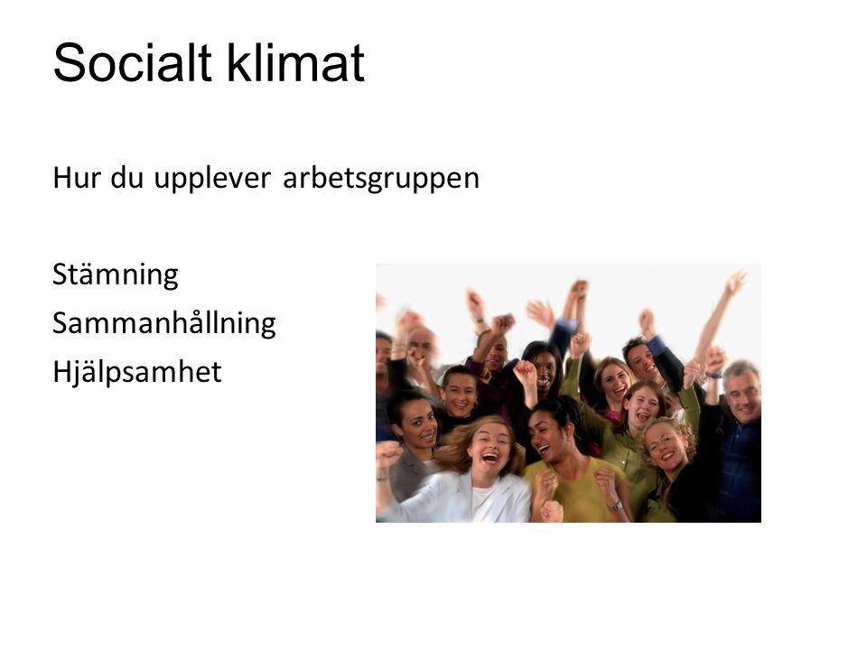 Socialt klimat Hur du upplever arbetsgruppen Stämning Sammanhållning Hjälpsamhet