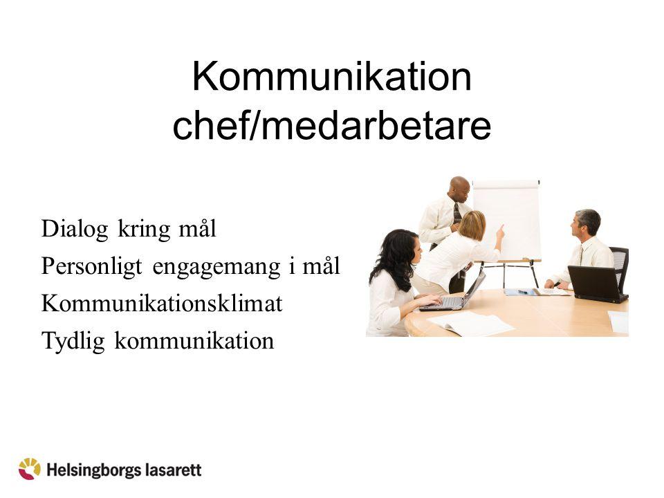 Kommunikation chef/medarbetare Dialog kring mål Personligt engagemang i mål Kommunikationsklimat Tydlig kommunikation