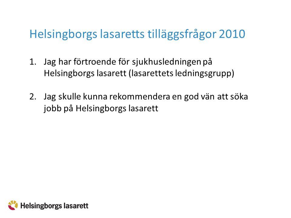 1.Jag har förtroende för sjukhusledningen på Helsingborgs lasarett (lasarettets ledningsgrupp) 2.Jag skulle kunna rekommendera en god vän att söka job