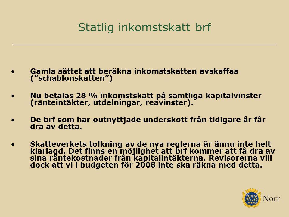 """Statlig inkomstskatt brf Gamla sättet att beräkna inkomstskatten avskaffas (""""schablonskatten"""") Nu betalas 28 % inkomstskatt på samtliga kapitalvinster"""
