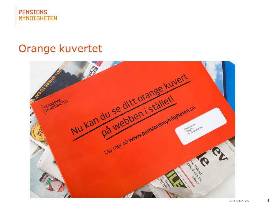 För att uppdatera sidfotstexten, gå till menyn: Visa/Sidhuvud och sidfot... 6 2015-03-26 Orange kuvertet
