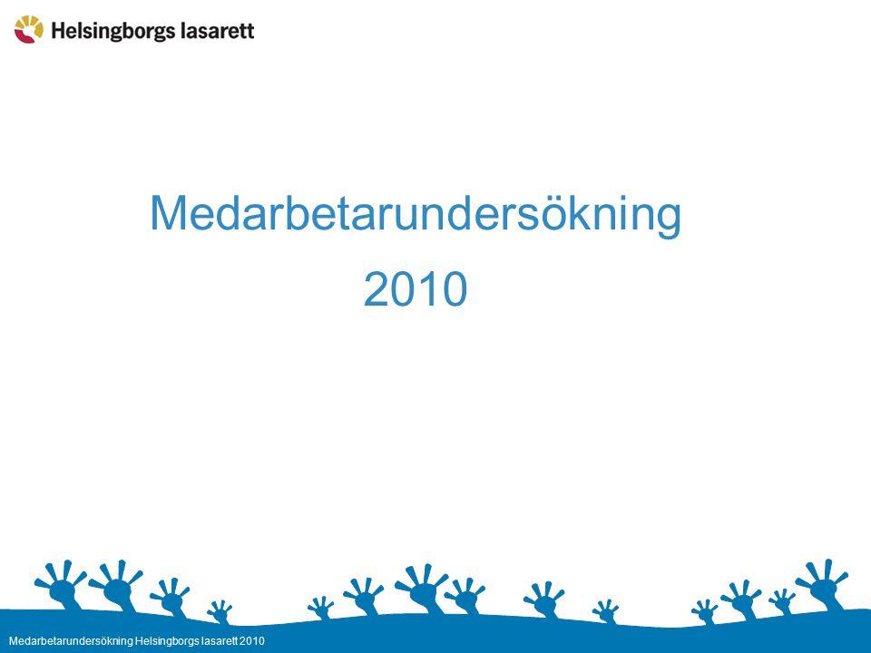 Medarbetarundersökning Helsingborgs lasarett 2010 Medarbetarundersökning 2010 Regiongemensam undersökning Enkäten öppen 4-20 okt Sjukhusövergripande resultat presenteras 22 nov Alla medarbetare ges möjlighet att ta del av arbetsplatsens resultat senast 28 feb 2011