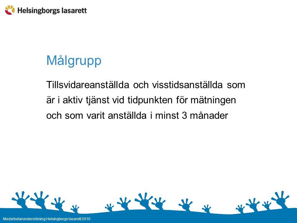 Medarbetarundersökning Helsingborgs lasarett 2010 Undersökningen ger oss Nulägesbeskrivning – Förbättringsområden Framtidsprognos – Dynamiskt fokustal Jämförelse med tidigare mättillfälle (om möjligt) Jämförelser med andra förvaltningar i Regionen
